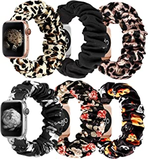 MITERV Compatible with Apple Watch Band 42mm 44mm Soft Floral Fabric Elastic Scrunchies iWatch Bands for Apple Watch Serie...
