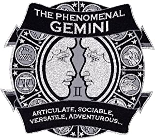 """Astro-Patch - The Phenomenal Gemini 5"""" X 5 1/2"""" (The Big One) Iron-On/Sew-On Astrological Patch. Its Reflective Silver Met..."""