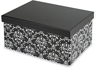 Pop n' Store Decorative Storage Box with Lid - Collapsible and Stackable - Medium Document Box Demask Black Print - Interior Size (12