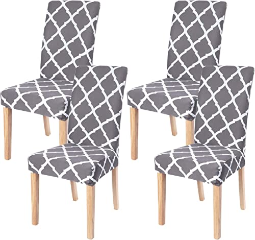 Dining Room Chair Covers Slipcovers Set of 4, SearchI Spandex Fabric Fit Stretch Removable Washable Short Parsons Kit...