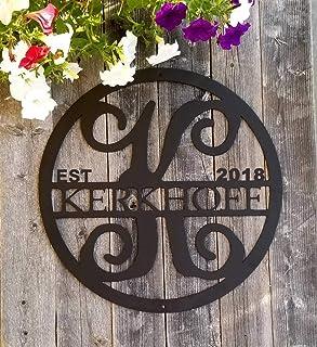 Personalized Monogram & Last Name Sign, Custom Initial Door Hanger Circle Family Established Metal Signs for Vine Room Decor Wall Art