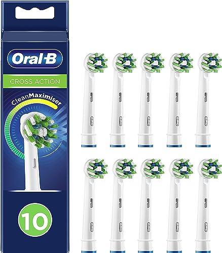 Oral-B CrossAction Cabezales de Recambio Tamaño Buzón, Pack de 10 Recambios Originales con Tecnología CleanMaximiser ...