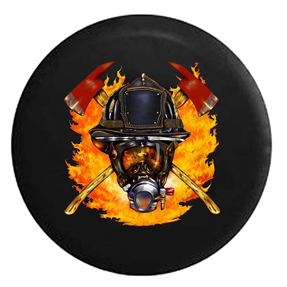 Fire Fighter Hero with Oxygen Mask and Helmet Crossed Axes FlamesSpare Tire Cover Black 26-27.5 in