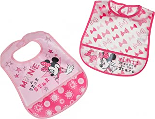 Disney Minnie Mouse 2 Piece Printed Frosted Water Proof Peva Bib, Crumb Catcher Pocket