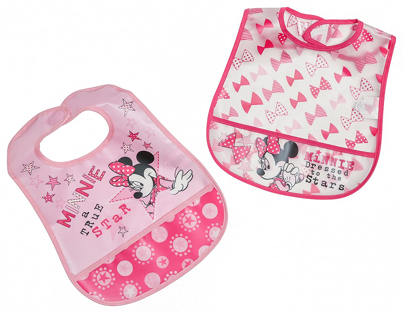 Disney Minnie Mouse 2Piece Printed Frosted Water Proof Peva Bib, Crumb Catcher Pocket