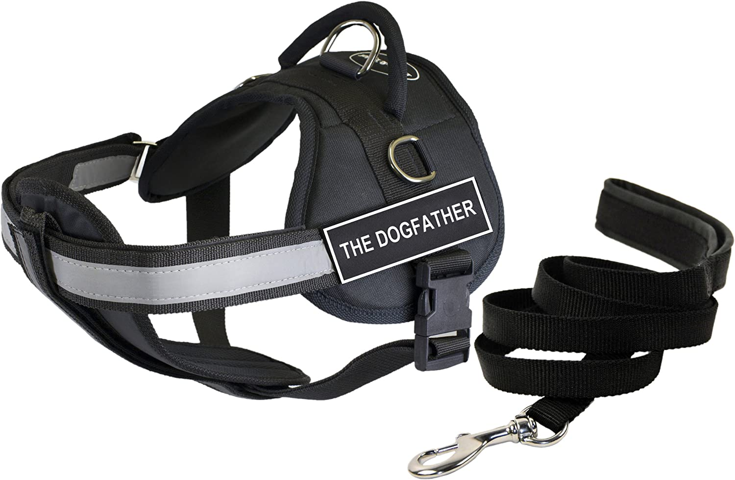 Dean & Tyler's DT Works THE DOGFATHER Harness with Chest Padding, Medium, and 6 ft Padded Puppy Leash.