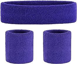 OnUpgo Sweatband Set Sports Headband Wristband Set Sweatbands Terry Cloth Wristband Wrist Sweatband Headbands Moisture Wicking Sweat Absorbing Head Band