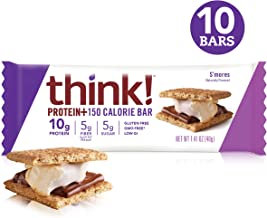 think! (thinkThin) Protein+ 150 Calorie Bars - S'mores, 10g Protein, 5g Sugar, No Artificial Sweeteners, Gluten Free, GMO Free, 1.4 oz bar (10 Count - packaging may vary)