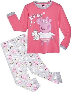 Peppa Pig Pijama para Niñas, Pijama Unicornio Niña de Manga Larga con Algodón Suave, Ropa Bebe Niña de Invierno Regalo Pep...