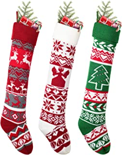 DearHouse Christmas Stockings, 3 Pack 26 inches Large Luxury Knit Knitted Classic Xmas Tree Snowflake Stripe, Rustic Perso...