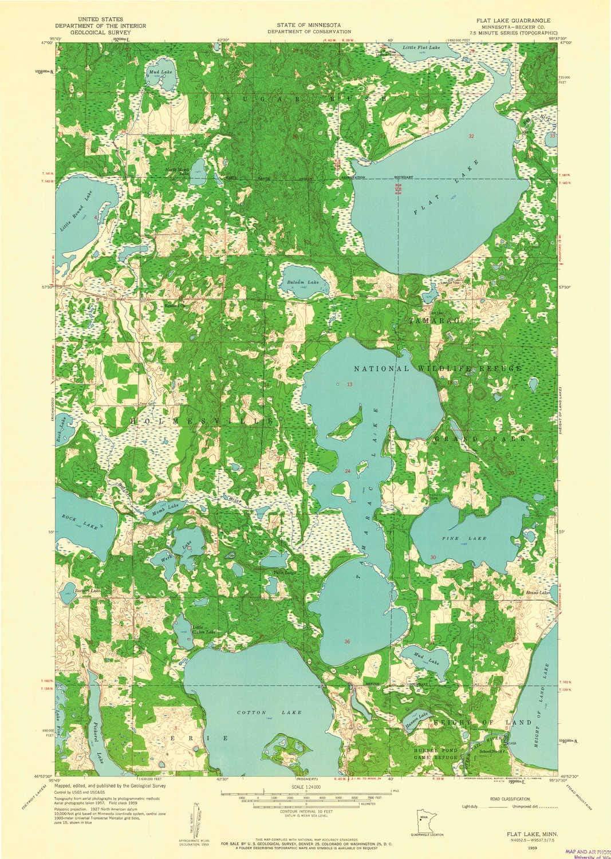 YellowMaps Flat Lake MN Under blast sales topo Dedication map X 7.5 1:24000 Scale Minut