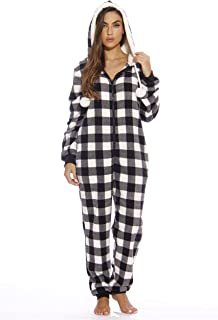 Buffalo Plaid Adult Onesie/Sherpa Lined Hoody/One Piece Pajamas