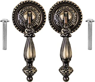 Set Of 2 Antique Drop Pendants Handles Round Bronze Furniture Door Drawer Elegant And Sturdy Package Antique Furniture