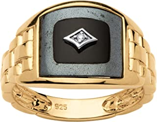 Men's 14K Yellow Gold over Sterling Silver Simulated Black Onyx and Diamond Accent Ring