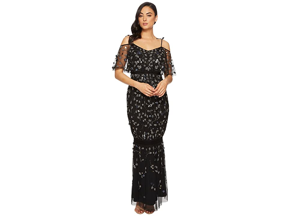 Adrianna Papell Long 3D Beaded Boho Gown with Tie Shoulder Detail (Black Multi) Women