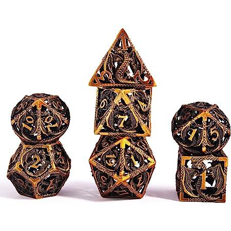 Set Dadi D&D Dungeons&Dragons, Vuoto Dadi da Gioco Poliedrici Metallo Dice Set Rpg, per Dungeons Dragons Gioco da Tavolo DND (Bronzo Antico)