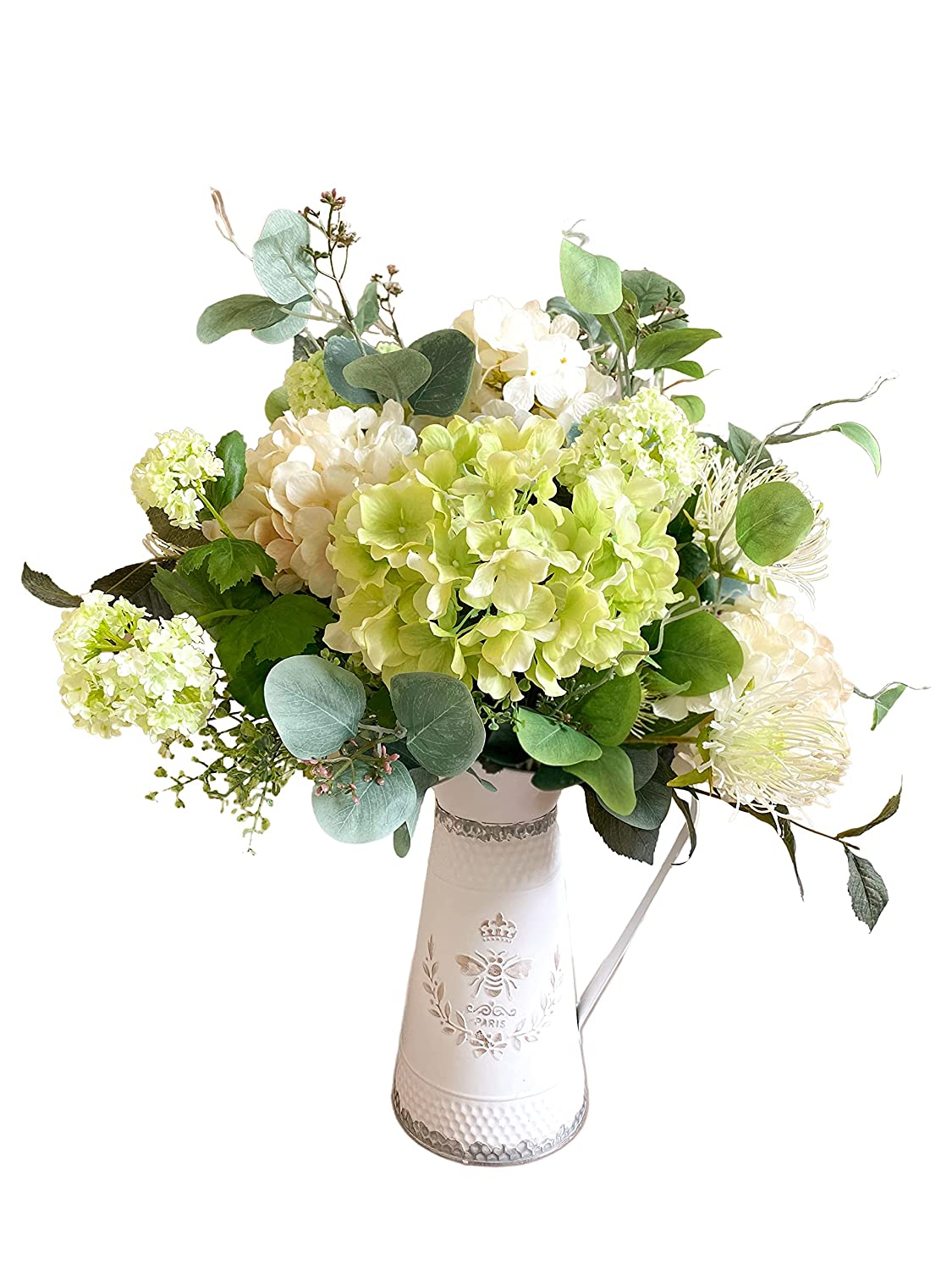 Green Store and Ivory Hydrangea Arrangement in Pitcher Bee distressed Safety and trust