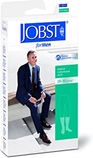 BSN Medical 113121 JOBST Men's Casual Socks with Closed Toe, Knee High, 20-30 mmHg, Full Calf, X-Large, Black
