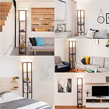Touch Control Shelf Floor Lamp, Modern Dimmable LED Floor Lamps with Shelves, 2 Fast Charging USB Ports and Power Outlet, Ski
