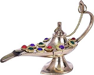 diollo Brass Aladdin Chirag Genie Lamp Burner Beaded Chirag Oil Lamp