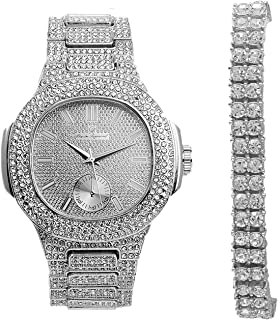 2 Row Tennis Bling Bracelet with Hip Hop Iced Look Silver Oblong Watch - 8475B 2RTSilver