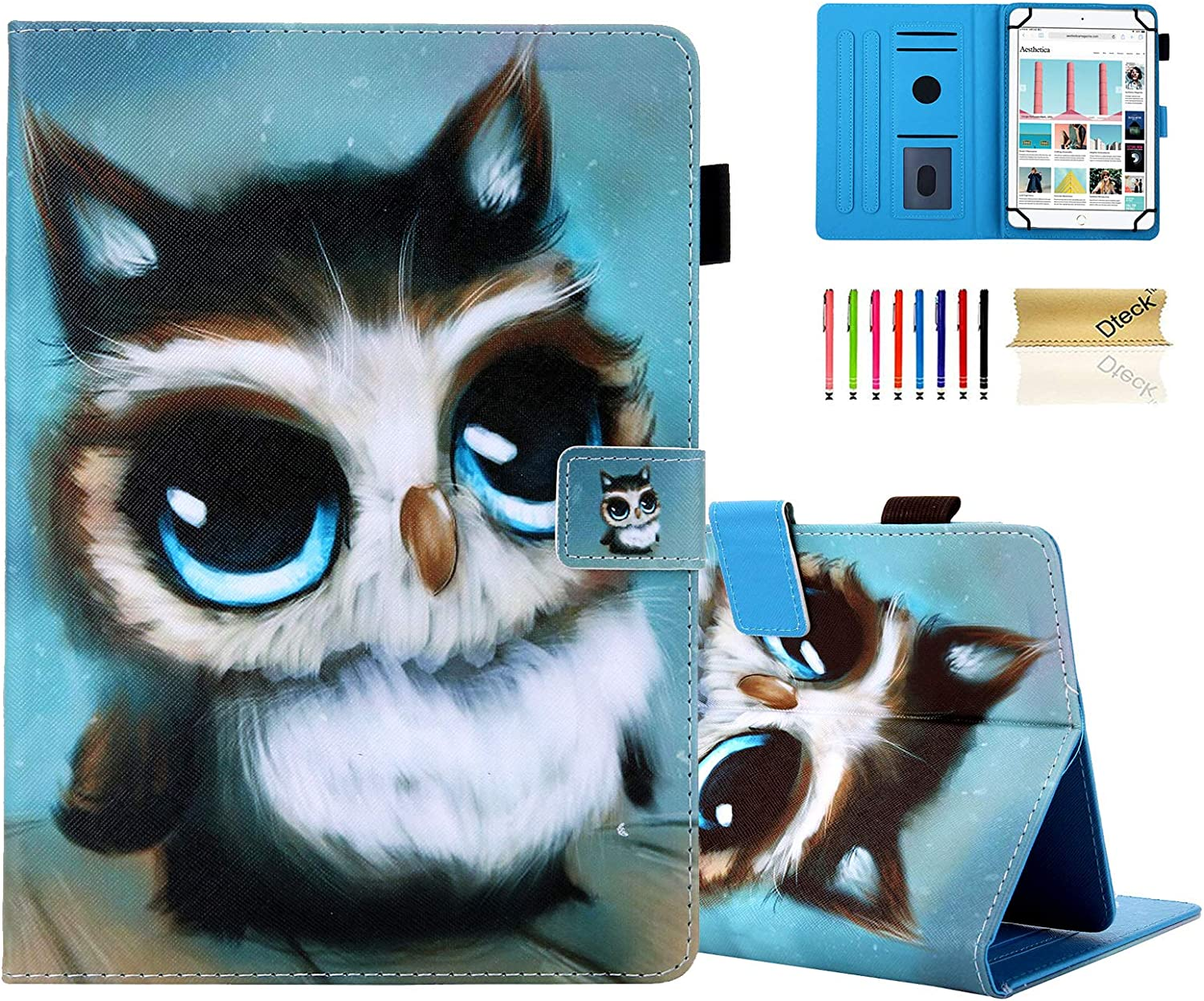 8.0-8.4 Inch Display Universal Case - Dteck Slim Leather Wallet Cute Cover for HD 8/ Samsung Galaxy Tab/Lenovo Tab/Dragon Touch/LG G Pad/Huawei/Onn/Android Tablet 8 8.3 8.4 Inch (Lovely Owl)