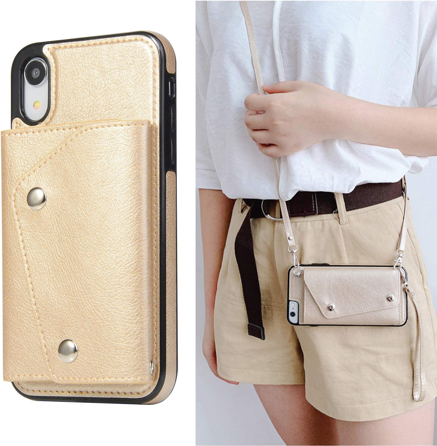 LUVI for iPhone XR Wallet Case with Crossbody Neck Strap Lanyard Handbag Hand Wrist Strap Protective Cover with Credit ID Card Holder Slot PU Leather Case for iPhone XR Gold