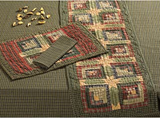 VHC Brands Rustic & Lodge Tabletop & Kitchen - Tea Cabin Green Quilted Runner, 13