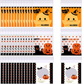 300 Pieces Halloween Candy Bags Self Adhesive Treat Bag Plastic Clear Candy Cookie Bags for Halloween Party Gift Supplies,3 Styles