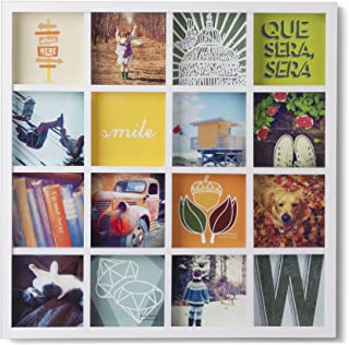 Umbra Gridart 4x4 Picture Frame – DIY Gallery Style Multi Picture Photo Collage Frame, Displays 16 Square 4 by 4 inch Photos, Illustrations, Art, Graphic Text & More, White