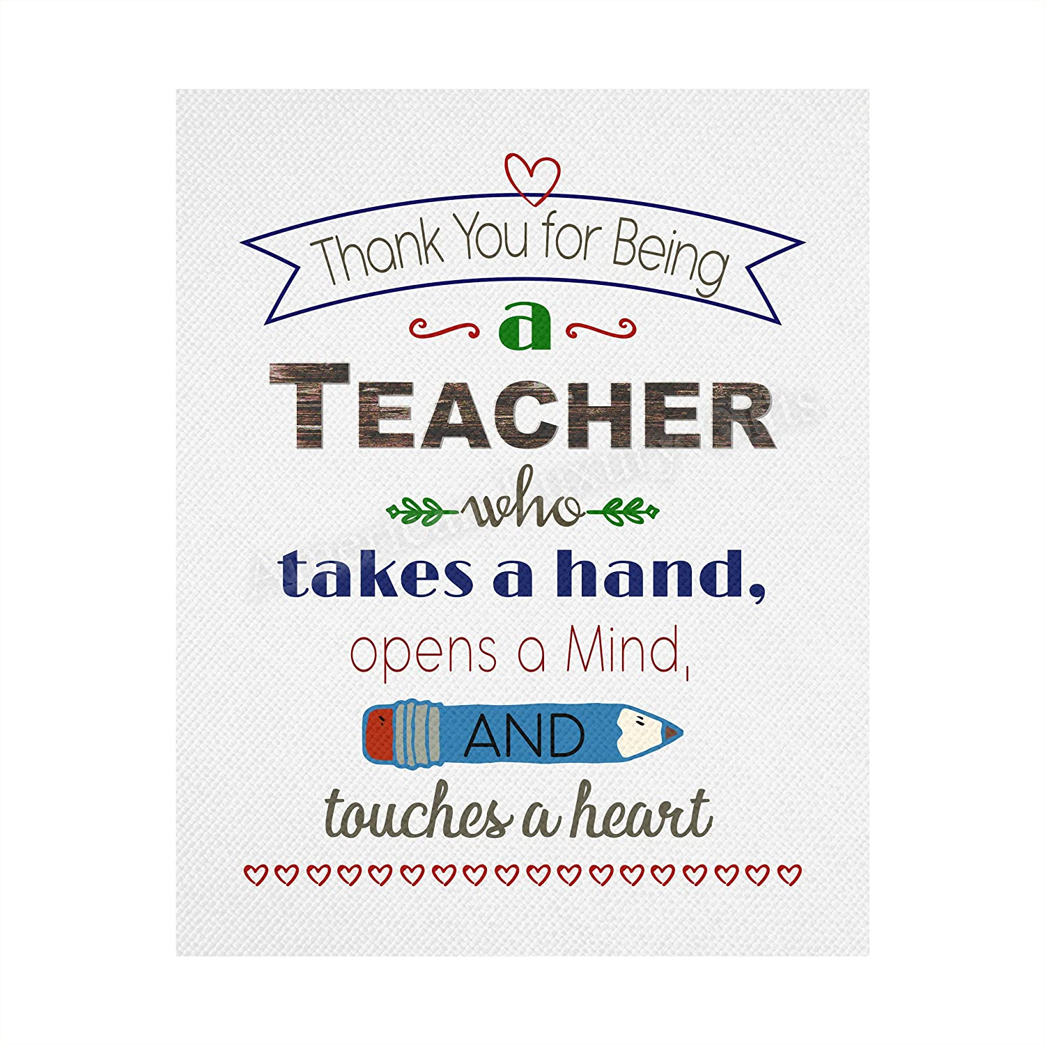 """""""Thank You Bargain sale For Being A Teacher""""- 8 Uplifting Art- mart Quotes Wall x"""