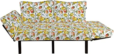 Ambesonne Nature Futon Couch, Lemon and Orange Clementine Tree Branches Fruit Yummy Winter Season Vitamin Design, Daybed with