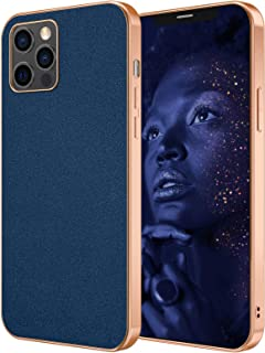 HPDUNO iPhone 12 Pro Max Case Cover, Sparkly PU Leather Basic Cases with Rose Gold Edge, Anti-fingerprint Shockproof Soft ...