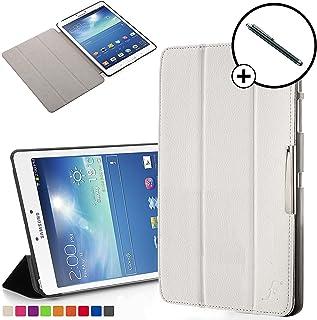 Forefront Cases Smart Funda para Samsung Galaxy Tab 3 8.0 Carcasa Stand Case Cover – Protección Completa y Ultra Delgado Ligera con Auto Sueño Estela Función + Lápiz (Blanco)