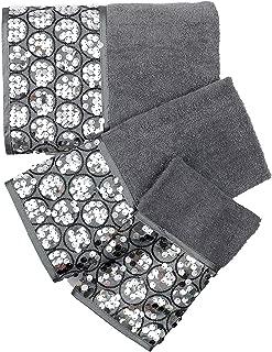 Popular Bath 230710 Bath Towels, Sinatra Collection, 3-Piece Set, Silver, Black