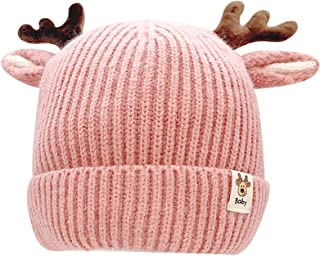 leomoste Infant Baby Beanie Hat Cute Reindeer Crochet Knitted Hat Winter Cap for Toddler Boys Girls with Deer Horn