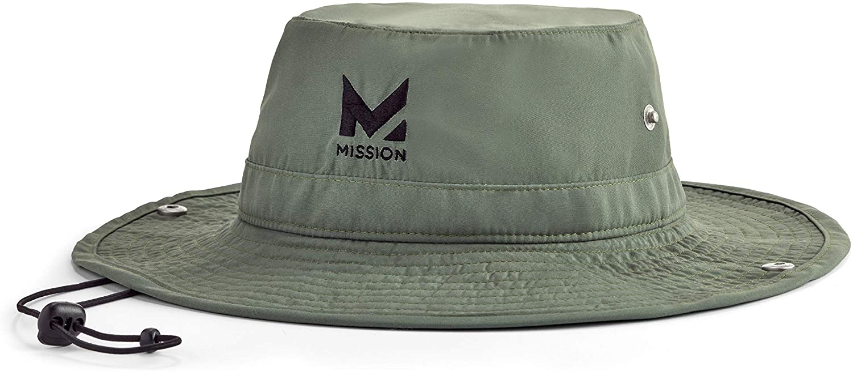 "Mission Cooling Bucket Hat- UPF 50, 3"" Wide Brim, Cools When Wet (Bronze Green)"