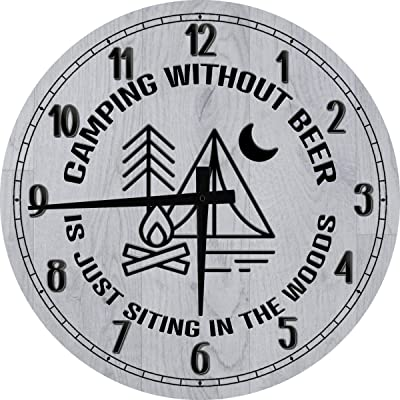 One Stop Gear Large Wall Clock Camping Beer Sitting in Woods Man Cave Wall Decor Barn Wood Gray 14 inch Wall Decor