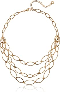 Women's Gold Diamond Textured Multi Row Necklace, Size 0