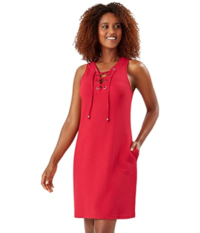 Tommy Bahama Color-Block Lace-Up Spa Dress (Resort Red) Women