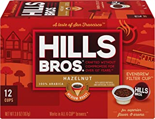 Hills Bros Single Serve Coffee Pods, Hazelnut, Medium Roast, 12 Count–Keurig Compatible, Roasted 100% Premium Arabica Coff...