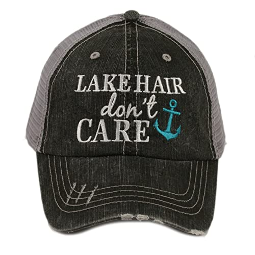 d323bb2bacc Katydid Lake Hair Don t Care Women s Distressed Grey Trucker Hat