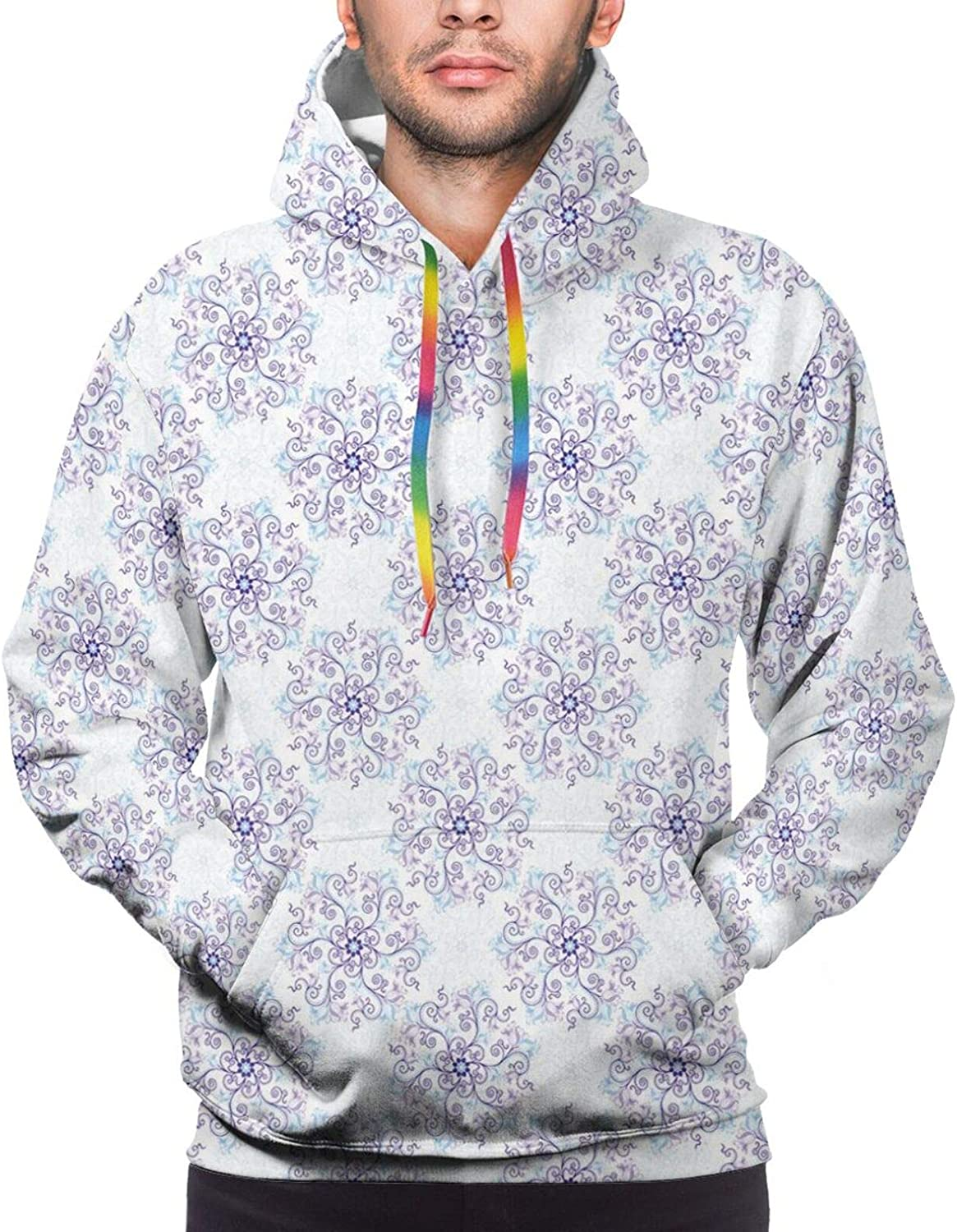 Men's Hoodies Sweatshirts,Floral Arrangement with Wildflowers and Leaves Abstract Valentines Day Inspired Art