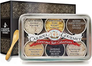 The #1 Gourmet Sea Salt Sampler - 6 Delicious Salts in Reusable Tins with a Bamboo Spoon, in a Variety of Flavor Profiles - Perfect Gift for Everyone (Infused #2, Single Sampler)
