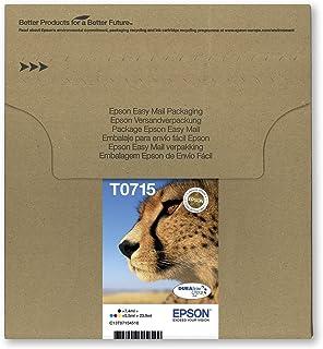 Epson T0715 Gepard oryginalny wielopak, ekologiczne opakowanie, 4-kolorowe wkłady atramentowe, DURABrite Ultra atrament, A...