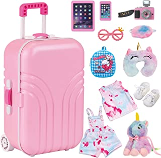 Ecore Fun 11 pcs American 18 inch Girl Doll Accessories Suitcase Travel Luggage Play Set - Girl 18