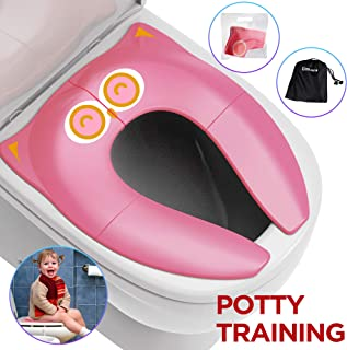 Gimars Upgrade Folding Large Non Slip Silicone Pads Travel Portable Reusable Toilet Potty Training Seat Covers Liners with Carry Bag for Babies, Toddlers and Kids,Pink
