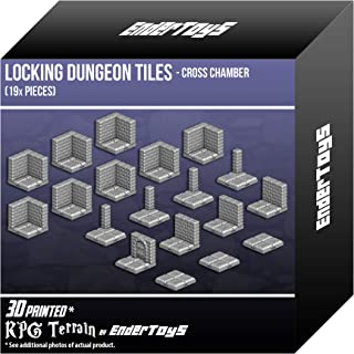 EnderToys Locking Dungeon Tiles - Cross Chamber, Terrain Scenery Tabletop 28mm Miniatures Role Playing Game, 3D Printed Paintable