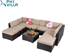 PHI VILLA 9-Piece Patio Furniture Set Rattan Sectional Sofa with Tea Table and Ottoman, Beige