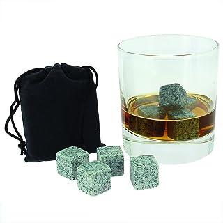 9er SET Whisky Steine Whiskey Stones aus natürlichem Speckstein für Getränke on the rocks, Kühlsteine im praktischen Stoffbeutel von notrash2003
